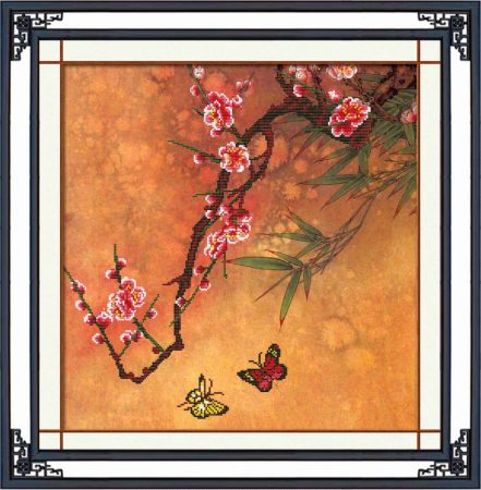 Cseresznye virágos ág lepkékkel - előfestett keresztszemes kép készlet