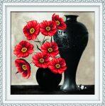 Piros virágok - előfestett keresztszemes kép készlet