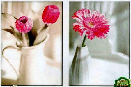 Rózsaszín virágok - előfestett keresztszemes kép készlet